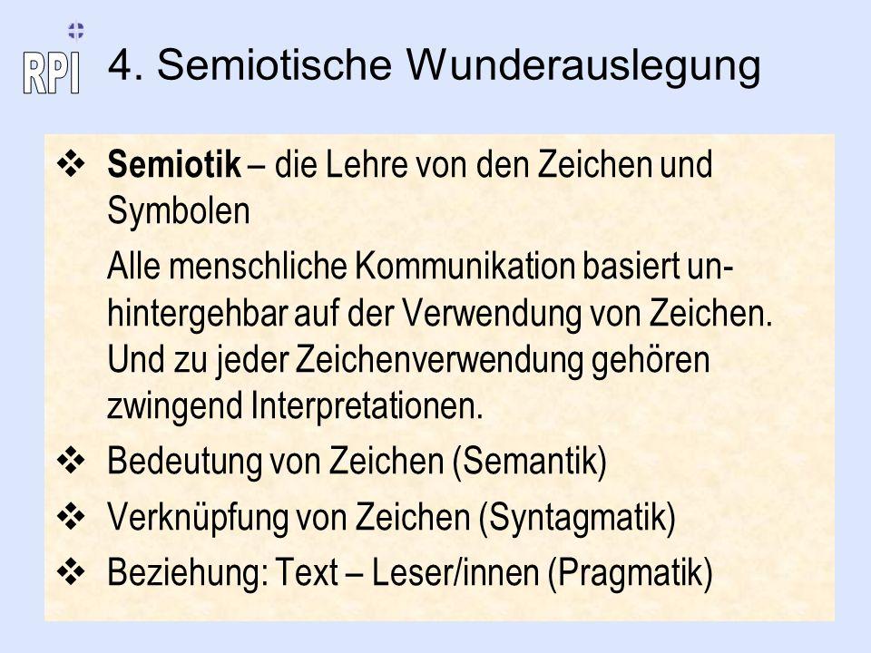 4. Semiotische Wunderauslegung Semiotik – die Lehre von den Zeichen und Symbolen Alle menschliche Kommunikation basiert un- hintergehbar auf der Verwe