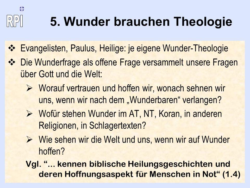 5. Wunder brauchen Theologie Evangelisten, Paulus, Heilige: je eigene Wunder-Theologie Die Wunderfrage als offene Frage versammelt unsere Fragen über