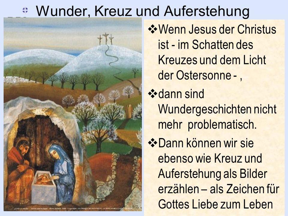 Wunder, Kreuz und Auferstehung Wenn Jesus der Christus ist - im Schatten des Kreuzes und dem Licht der Ostersonne -, dann sind Wundergeschichten nicht