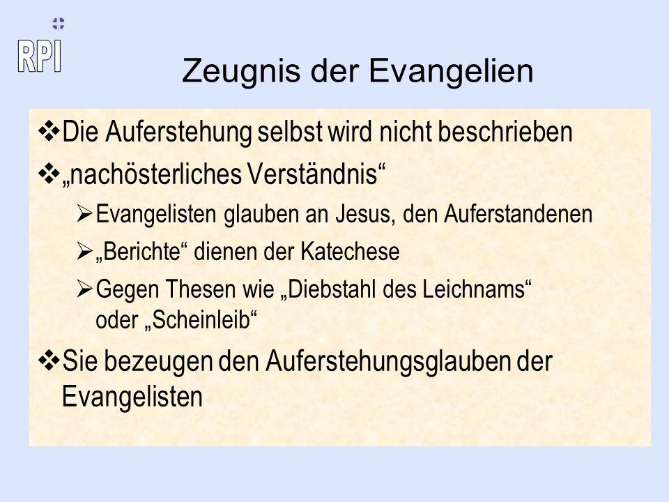 Zeugnis der Evangelien Die Auferstehung selbst wird nicht beschrieben nachösterliches Verständnis Evangelisten glauben an Jesus, den Auferstandenen Be