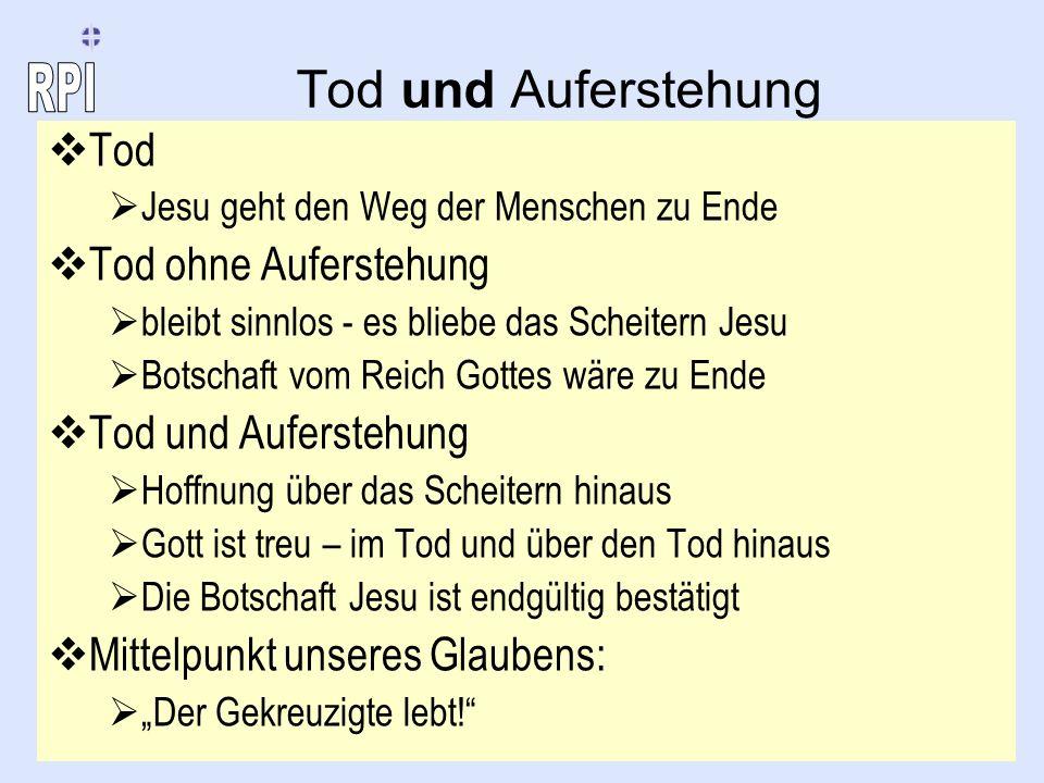 Tod und Auferstehung Tod Jesu geht den Weg der Menschen zu Ende Tod ohne Auferstehung bleibt sinnlos - es bliebe das Scheitern Jesu Botschaft vom Reic