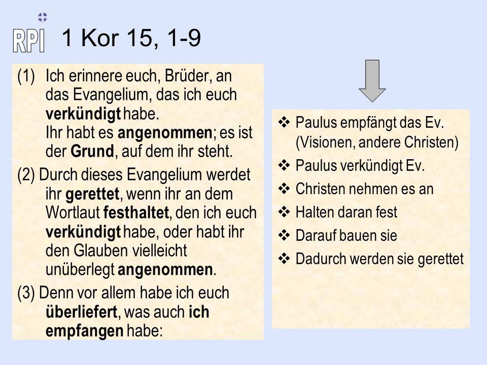 (1)Ich erinnere euch, Brüder, an das Evangelium, das ich euch verkündigt habe. Ihr habt es angenommen ; es ist der Grund, auf dem ihr steht. (2) Durch