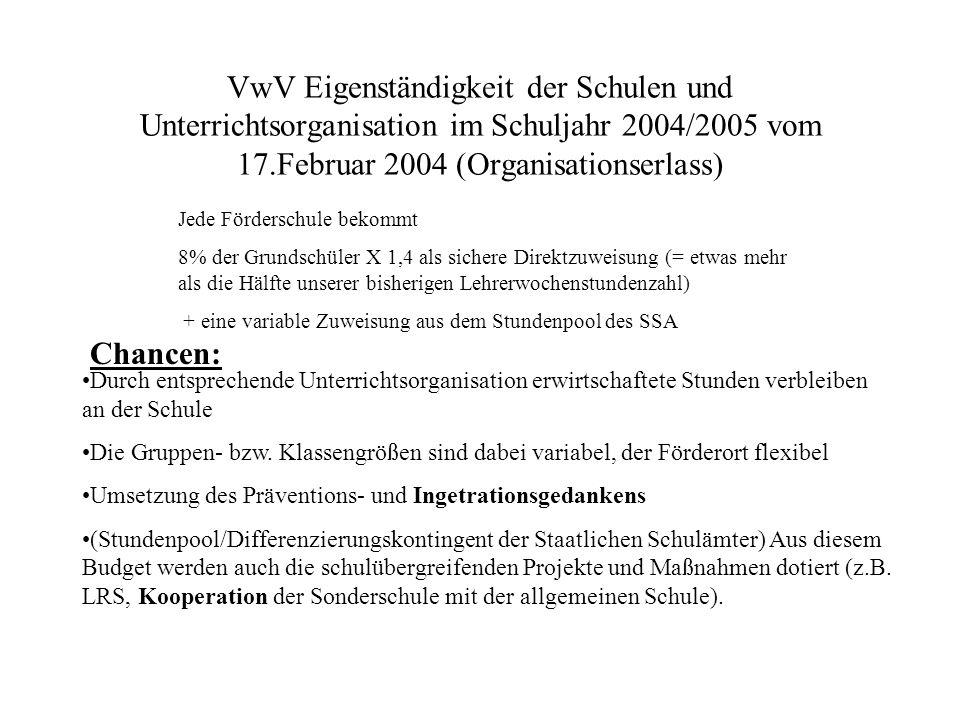 VwV Eigenständigkeit der Schulen und Unterrichtsorganisation im Schuljahr 2004/2005 vom 17.Februar 2004 (Organisationserlass) Durch entsprechende Unte