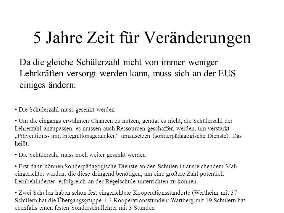 Ursachen für den drastischen Abbau an der EUS (Vergleich mit einer anderen Förderschule Schule A hatte 2002 eine Schülerzahl von 13 000 (6-14jähr.) zu versorgen.