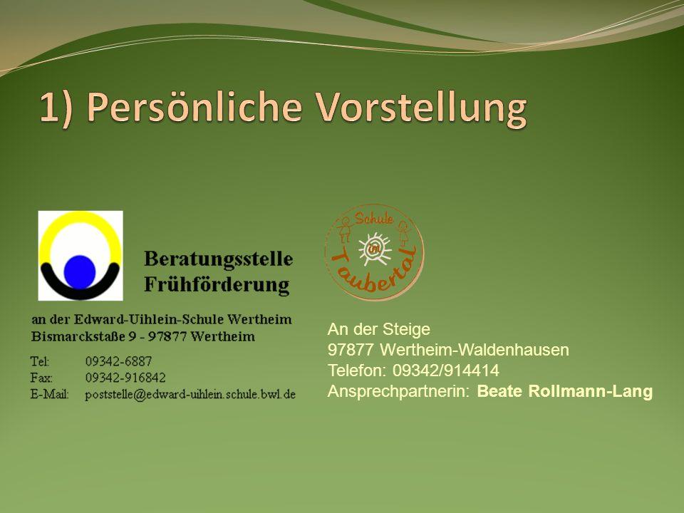 Hier arbeiten: Michael Riegger Tanja von Plotho Sonderschullehrer seit 2001 Körperbehinderte Nürnberg Dia-Fö Klasse Gemünden Schuleingangsgutachten seit 2005 Leitung der Beratungsstelle seit Schuljahr 2008/09 Sonderschulllehrerin seit 2001 Edward-Uihlein-Schule Frühförderung seit Schuljahr 2006/07 Klassenlehrerin der Klasse 2/3