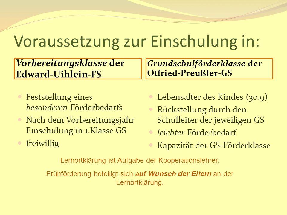 Voraussetzung zur Einschulung in: Vorbereitungsklasse der Edward-Uihlein-FS Grundschulförderklasse der Otfried-Preußler-GS Feststellung eines besonder