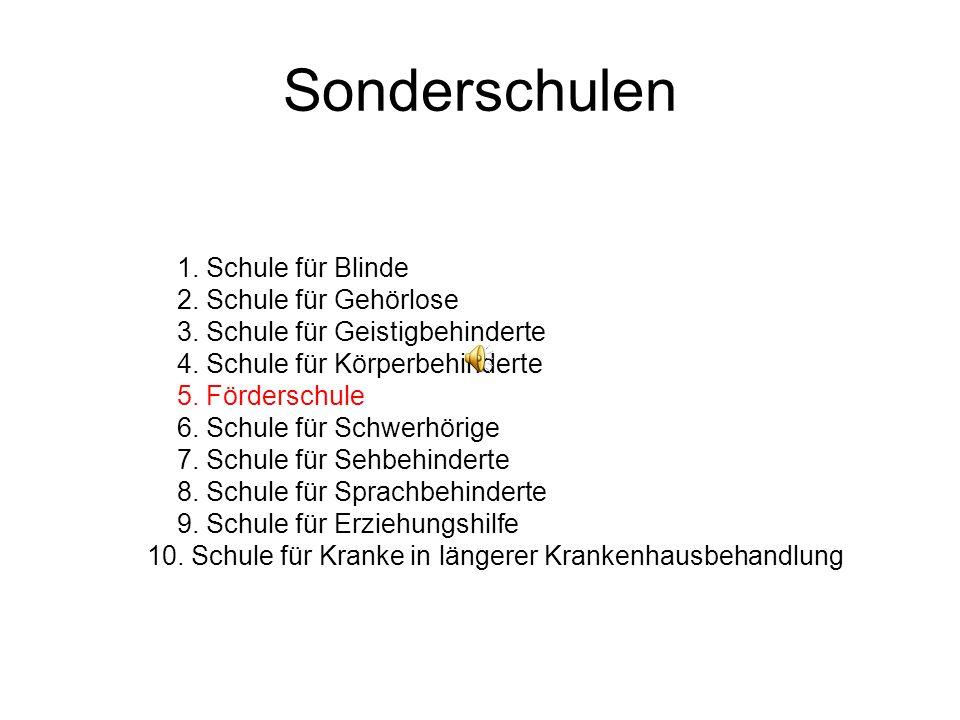 Sonderschulen 1.Schule für Blinde 2. Schule für Gehörlose 3.