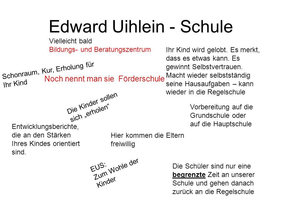 Edward Uihlein - Schule Noch nennt man sie Förderschule Vielleicht bald Bildungs- und Beratungszentrum Hier kommen die Eltern freiwillig Die Schüler s
