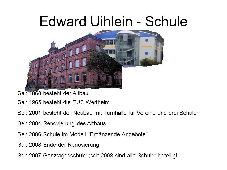 Edward Uihlein - Schule Seit 2006 Schule im Modell Ergänzende Angebote Seit 2007 Ganztagesschule (seit 2008 sind alle Schüler beteiligt.