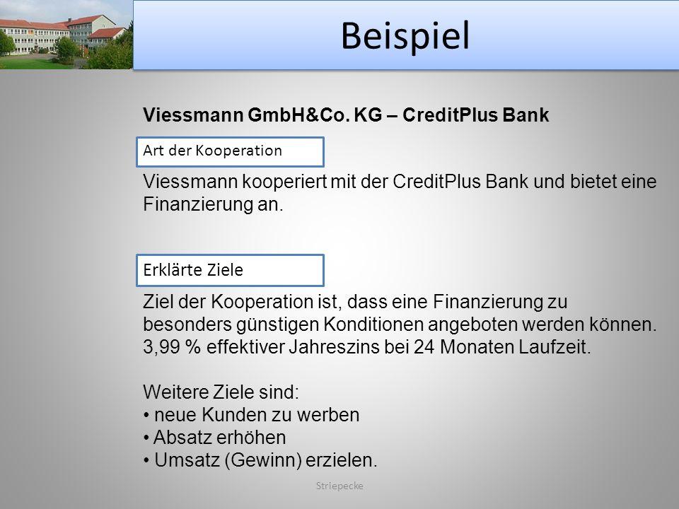 Beispiel Striepecke Viessmann GmbH&Co. KG – CreditPlus Bank Art der Kooperation Viessmann kooperiert mit der CreditPlus Bank und bietet eine Finanzier