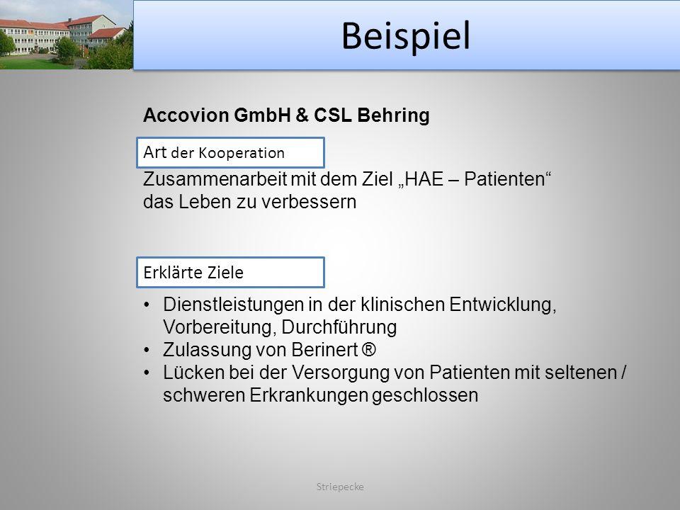 Beispiel Striepecke Accovion GmbH & CSL Behring Art der Kooperation Zusammenarbeit mit dem Ziel HAE – Patienten das Leben zu verbessern Erklärte Ziele