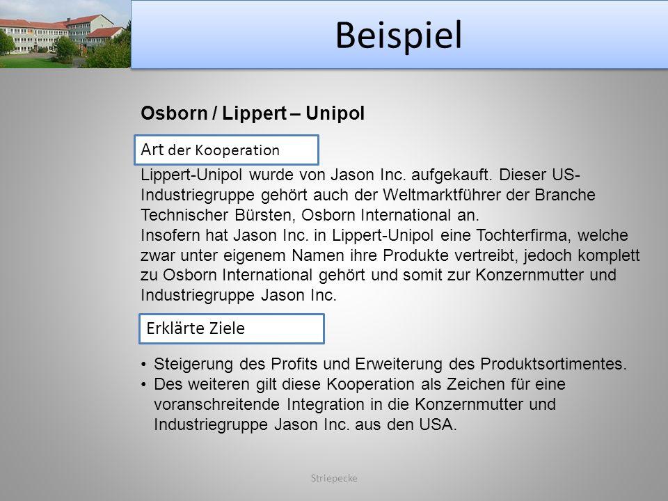 Beispiel Striepecke Osborn / Lippert – Unipol Art der Kooperation Lippert-Unipol wurde von Jason Inc. aufgekauft. Dieser US- Industriegruppe gehört au