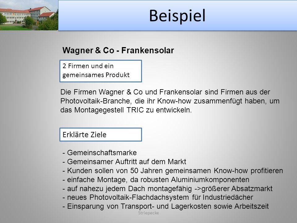 Beispiel Striepecke Wagner & Co - Frankensolar 2 Firmen und ein gemeinsames Produkt Die Firmen Wagner & Co und Frankensolar sind Firmen aus der Photov