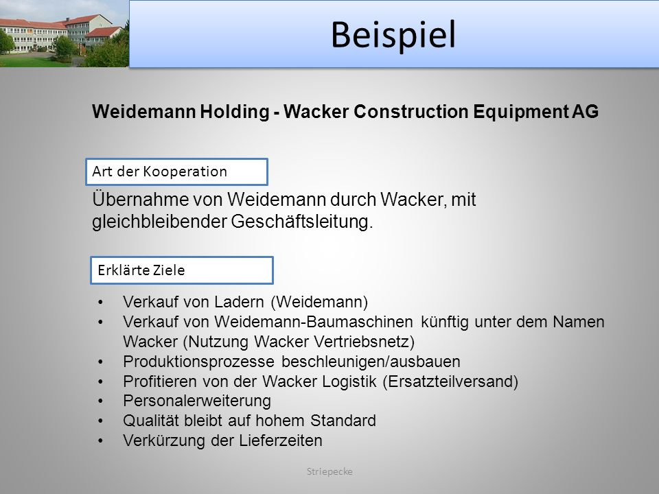 Beispiel Striepecke Weidemann Holding - Wacker Construction Equipment AG Art der Kooperation Erklärte Ziele Übernahme von Weidemann durch Wacker, mit