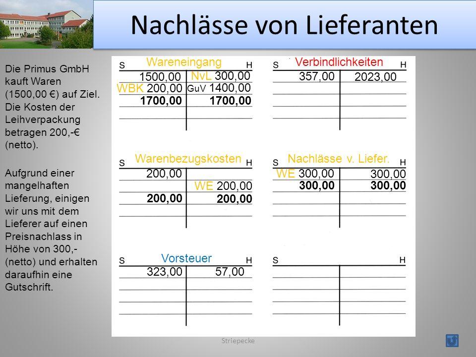 Nachlässe von Lieferanten Striepecke Wareneingang Vorsteuer Warenbezugskosten Verbindlichkeiten Die Primus GmbH kauft Waren (1500,00 ) auf Ziel.