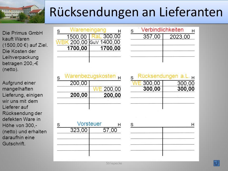 Rücksendungen an Lieferanten Striepecke Wareneingang Vorsteuer Warenbezugskosten Verbindlichkeiten Die Primus GmbH kauft Waren (1500,00 ) auf Ziel.