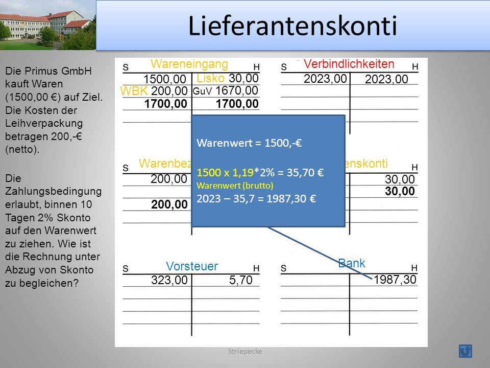 Lieferantenskonti Striepecke Wareneingang Vorsteuer Warenbezugskosten Verbindlichkeiten Die Primus GmbH kauft Waren (1500,00 ) auf Ziel.