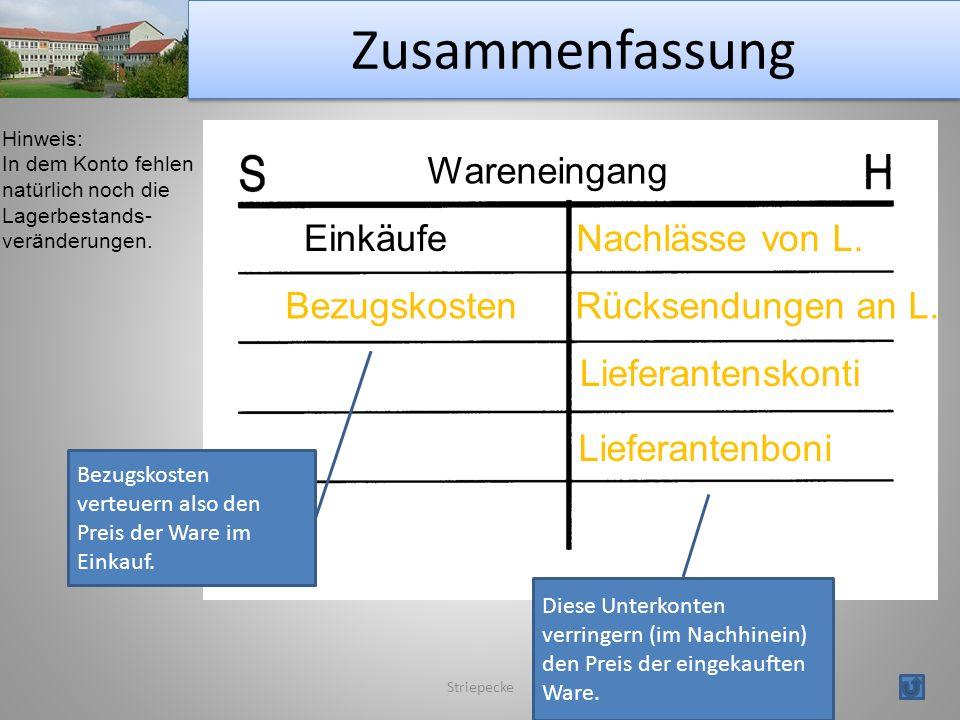 Zusammenfassung Striepecke Hinweis: In dem Konto fehlen natürlich noch die Lagerbestands- veränderungen.