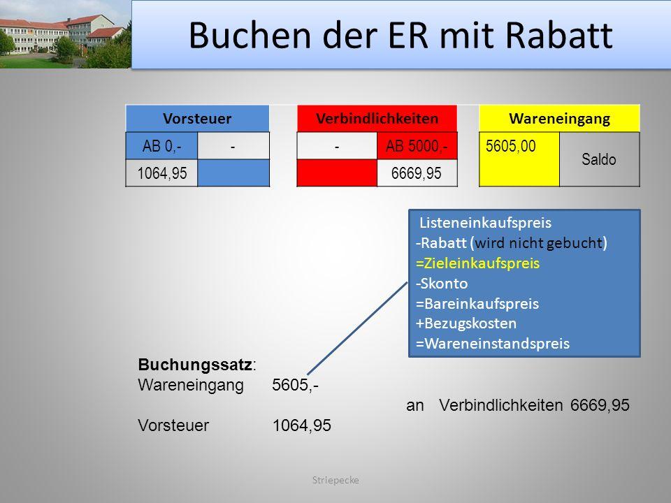 Buchen der ER mit Rabatt Striepecke VorsteuerVerbindlichkeitenWareneingang AB 0,---AB 5000,-5605,00 Saldo 1064,956669,95 Buchungssatz: Wareneingang560