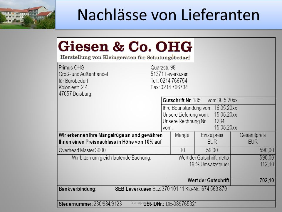 Nachlässe von Lieferanten Striepecke Primus OHGQuarzstr. 98 Groß- und Außenhandel 51371 Leverkusen für BürobedarfTel.: 0214 766754 Koloniestr. 2-4Fax: