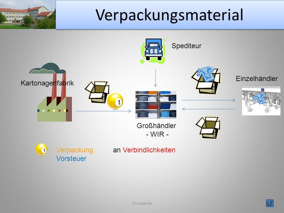 Verpackungsmaterial Striepecke Kartonagenfabrik Großhändler - WIR - Spediteur Einzelhändler Verpackungan Verbindlichkeiten Vorsteuer