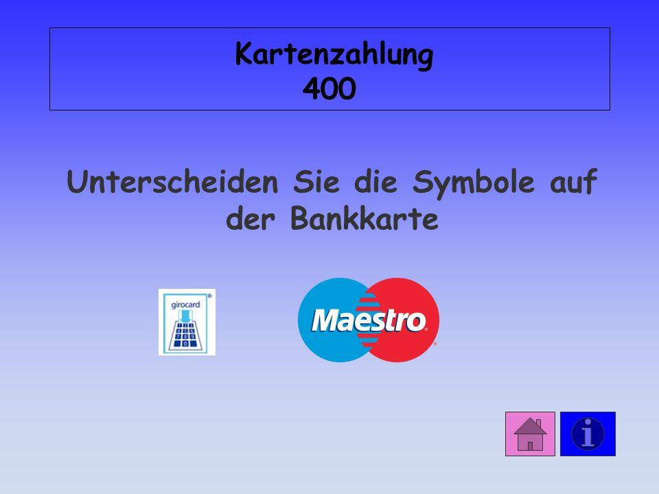 Antwort: Kartenzahlung 300 Verfügungsrahmen: 200 Der Karteninhaber haftet selbst bei Verlust der Geldkarte.