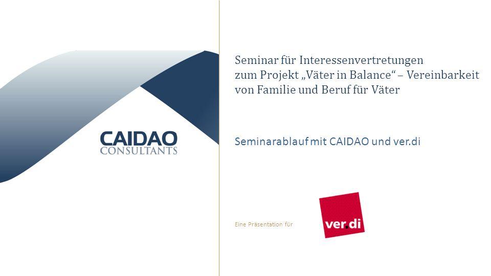 Eine Präsentation für Seminar für Interessenvertretungen zum Projekt Väter in Balance – Vereinbarkeit von Familie und Beruf für Väter Seminarablauf mit CAIDAO und ver.di
