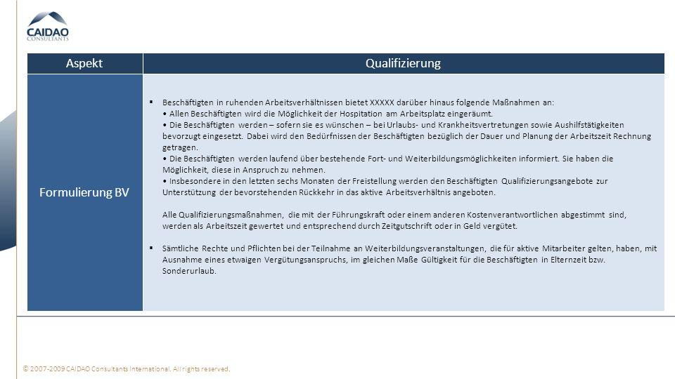 © 2007-2009 CAIDAO Consultants International. All rights reserved. QualifizierungAspekt Beschäftigten in ruhenden Arbeitsverhältnissen bietet XXXXX da
