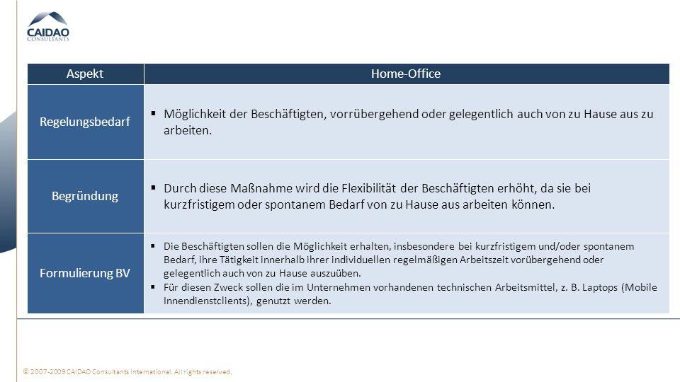 © 2007-2009 CAIDAO Consultants International. All rights reserved. Home-Office Möglichkeit der Beschäftigten, vorrübergehend oder gelegentlich auch vo