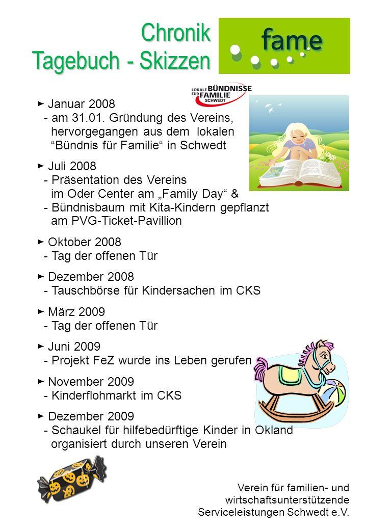 Chronik Tagebuch - Skizzen Januar 2008 - am 31.01. Gründung des Vereins, hervorgegangen aus dem lokalen Bündnis für Familie in Schwedt Juli 2008 - Prä