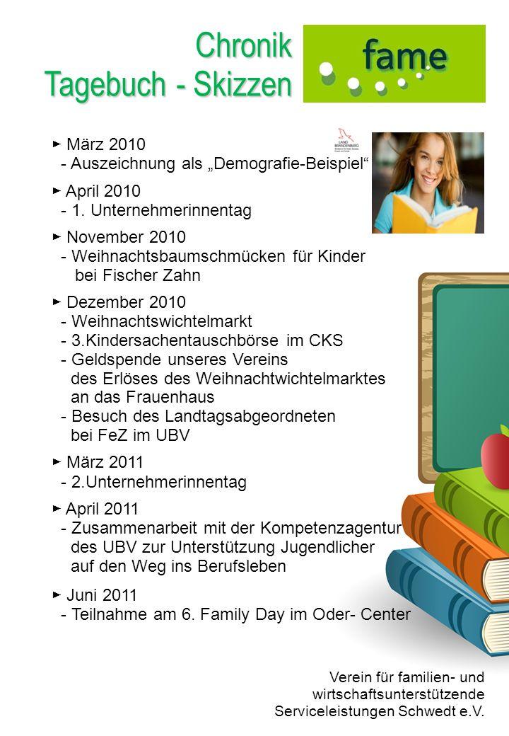 Chronik Tagebuch - Skizzen März 2010 - Auszeichnung als Demografie-Beispiel April 2010 - 1. Unternehmerinnentag November 2010 - Weihnachtsbaumschmücke