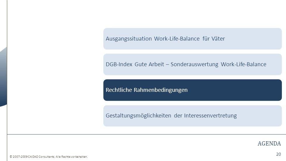 © 2007-2009 CAIDAO Consultants. Alle Rechte vorbehalten. AGENDA Ausgangssituation Work-Life-Balance für VäterDGB-Index Gute Arbeit – Sonderauswertung