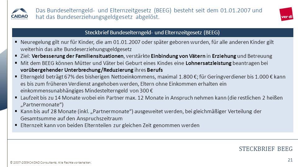 © 2007-2009 CAIDAO Consultants. Alle Rechte vorbehalten. 21 STECKBRIEF BEEG Das Bundeselterngeld- und Elternzeitgesetz (BEEG) besteht seit dem 01.01.2