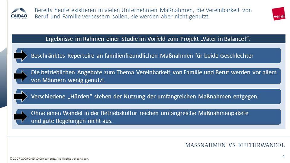 © 2007-2009 CAIDAO Consultants. Alle Rechte vorbehalten. 4 MASSNAHMEN VS. KULTURWANDEL Bereits heute existieren in vielen Unternehmen Maßnahmen, die V