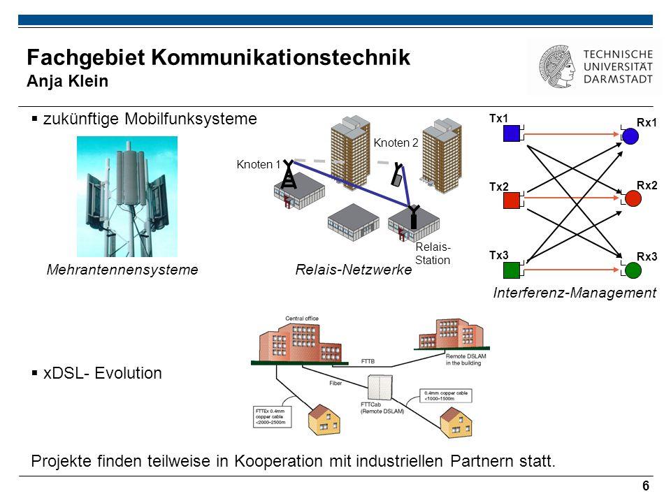 6 Fachgebiet Kommunikationstechnik Anja Klein zukünftige Mobilfunksysteme Relais- Station Knoten 2 Knoten 1 MehrantennensystemeRelais-Netzwerke Interferenz-Management xDSL- Evolution Projekte finden teilweise in Kooperation mit industriellen Partnern statt.