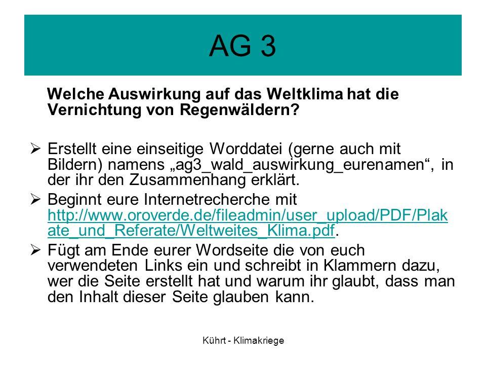 Kührt - Klimakriege AG 4 Welche Auswirkungen haben die Klimaänderungen auf die Menschen.
