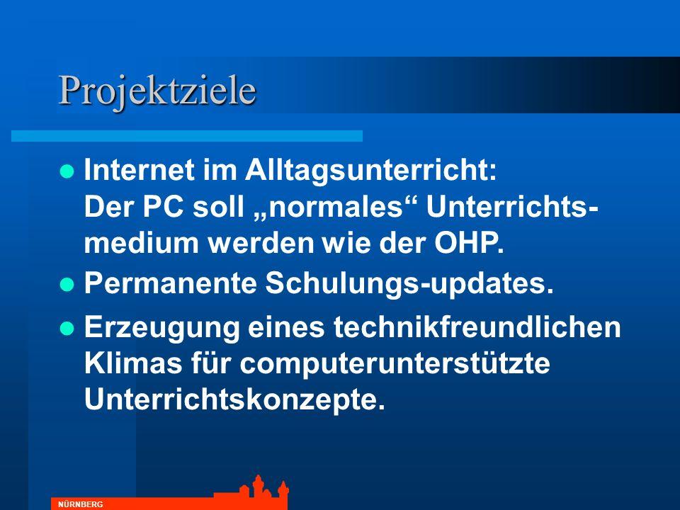 NÜRNBERG Projektziele Permanente Schulungs-updates. Erzeugung eines technikfreundlichen Klimas für computerunterstützte Unterrichtskonzepte. Internet