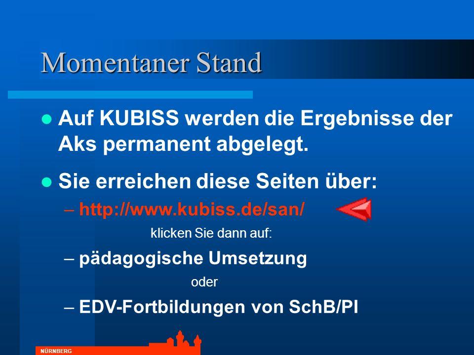 NÜRNBERG Sie erreichen diese Seiten über: –http://www.kubiss.de/san/ klicken Sie dann auf: –pädagogische Umsetzung oder –EDV-Fortbildungen von SchB/PI