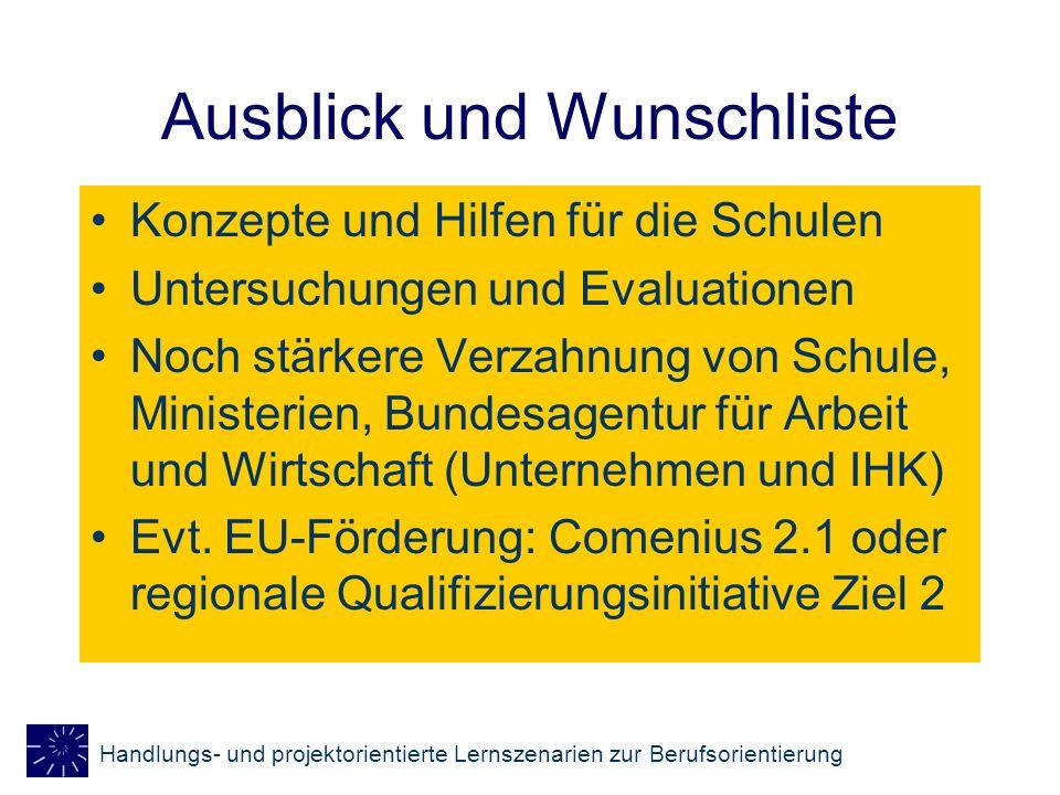 Handlungs- und projektorientierte Lernszenarien zur Berufsorientierung Ausblick und Wunschliste Konzepte und Hilfen für die Schulen Untersuchungen und