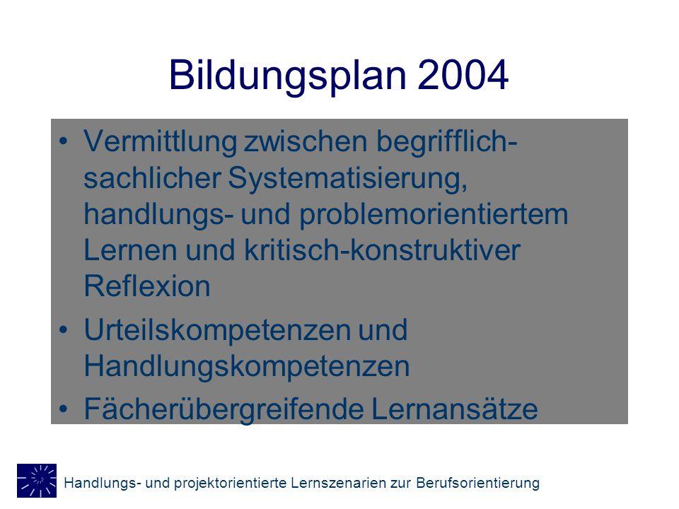 Handlungs- und projektorientierte Lernszenarien zur Berufsorientierung Bildungsplan 2004 Projektorientierte Lernverfahren Öffnung schulischen Lernens ganzheitliche, eigenverantwortliche Lernprozesse Annäherung an die betriebliche und unternehmerische Realität http://www.kultusministerium.baden- wuerttemberg.de/is/is6/thema5.pdf http://www.kultusministerium.baden- wuerttemberg.de/is/is6/thema5.pdf