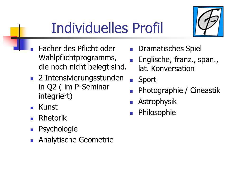 Individuelles Profil Fächer des Pflicht oder Wahlpflichtprogramms, die noch nicht belegt sind. 2 Intensivierungsstunden in Q2 ( im P-Seminar integrier