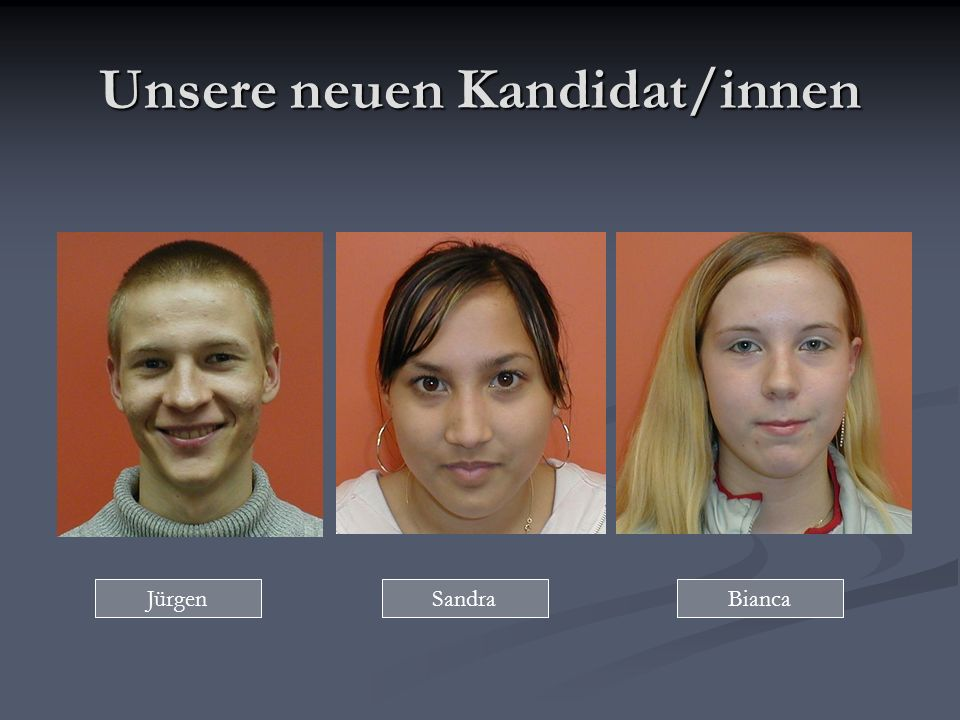 Unsere neuen Kandidat/innen JürgenSandraBianca