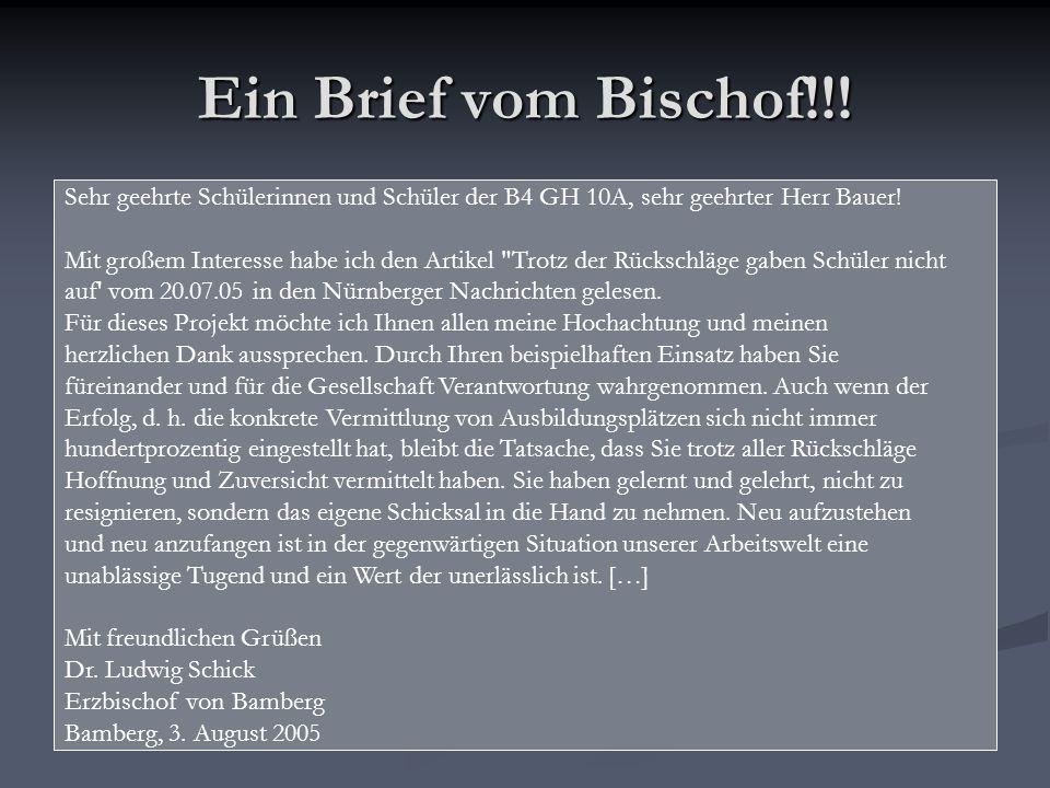Ein Brief vom Bischof!!.