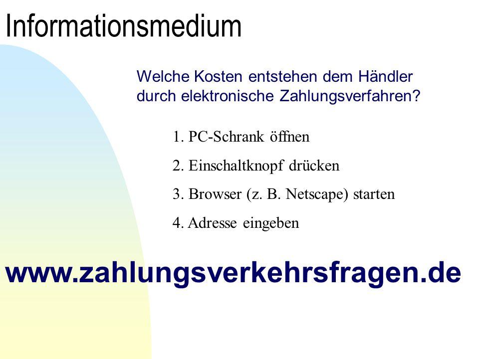 Informationsmedium www.zahlungsverkehrsfragen.de Welche Kosten entstehen dem Händler durch elektronische Zahlungsverfahren? 1. PC-Schrank öffnen 2. Ei