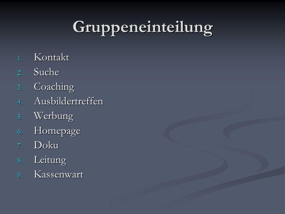 Gruppeneinteilung 1. Kontakt 2. Suche 3. Coaching 4. Ausbildertreffen 5. Werbung 6. Homepage 7. Doku 8. Leitung 9. Kassenwart