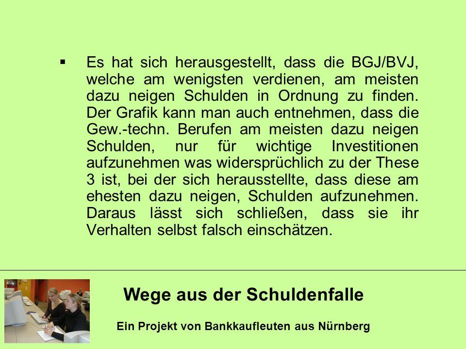 Wege aus der Schuldenfalle Ein Projekt von Bankkaufleuten aus Nürnberg Es hat sich herausgestellt, dass die BGJ/BVJ, welche am wenigsten verdienen, am