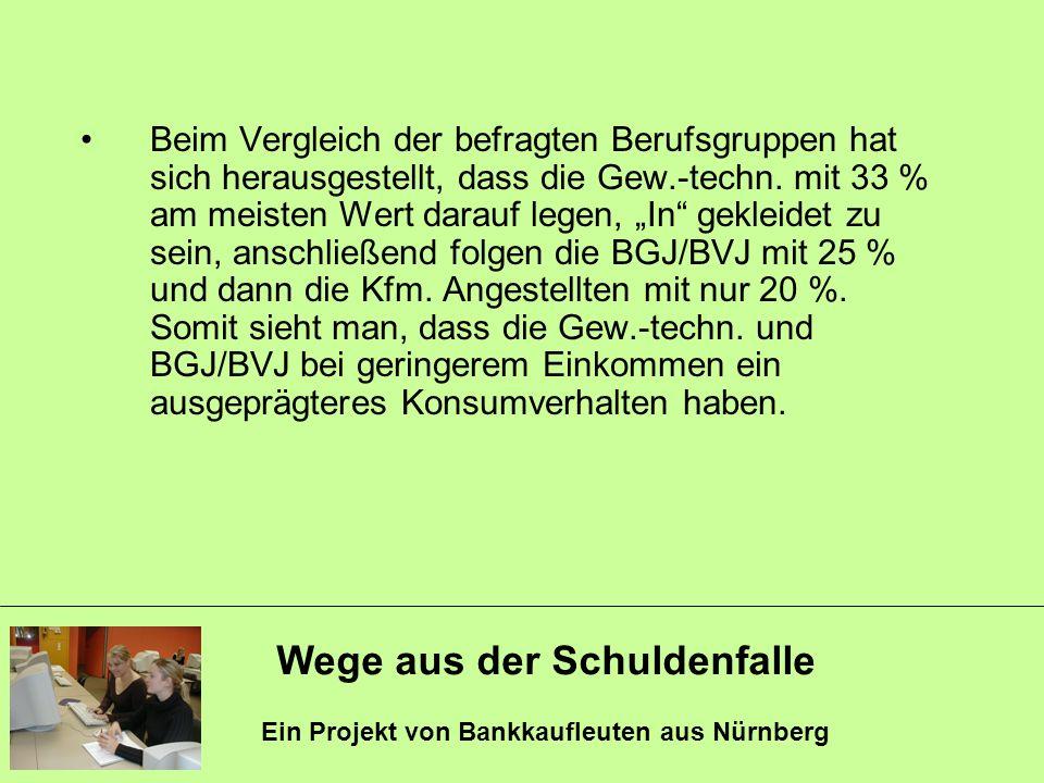 Wege aus der Schuldenfalle Ein Projekt von Bankkaufleuten aus Nürnberg Beim Vergleich der befragten Berufsgruppen hat sich herausgestellt, dass die Ge