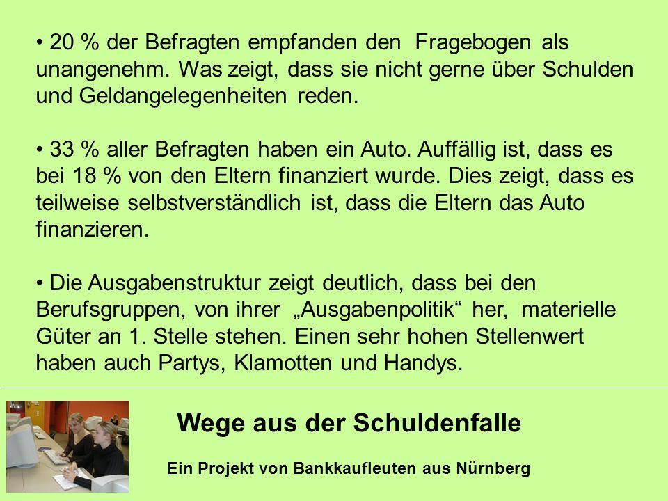 Wege aus der Schuldenfalle Ein Projekt von Bankkaufleuten aus Nürnberg 20 % der Befragten empfanden den Fragebogen als unangenehm. Was zeigt, dass sie