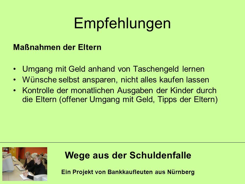 Wege aus der Schuldenfalle Ein Projekt von Bankkaufleuten aus Nürnberg Empfehlungen Maßnahmen der Eltern Umgang mit Geld anhand von Taschengeld lernen