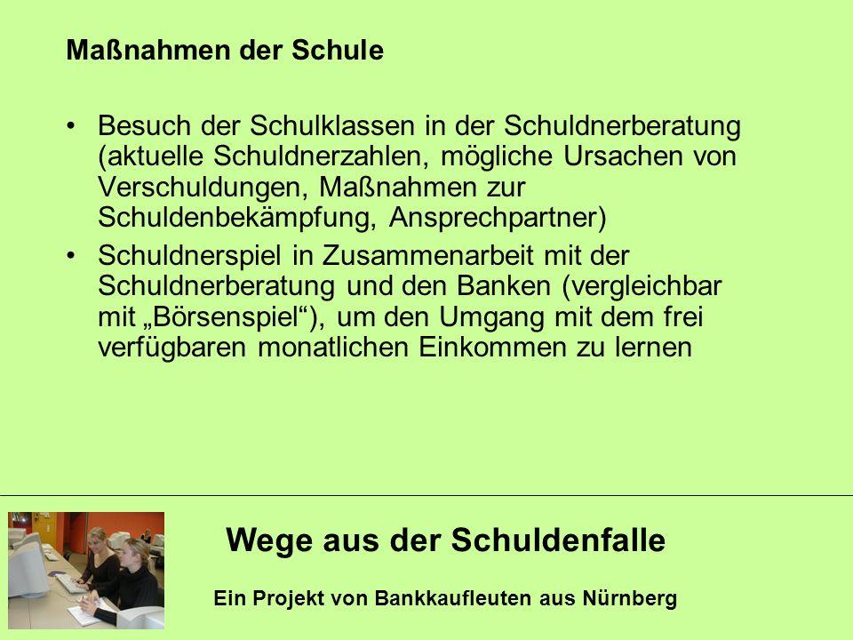 Wege aus der Schuldenfalle Ein Projekt von Bankkaufleuten aus Nürnberg Maßnahmen der Schule Besuch der Schulklassen in der Schuldnerberatung (aktuelle